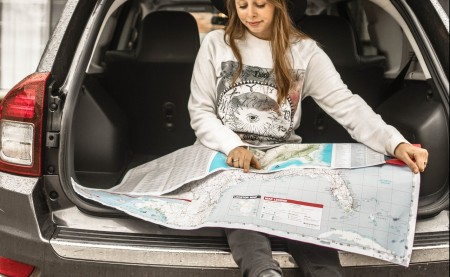 a girl with a map