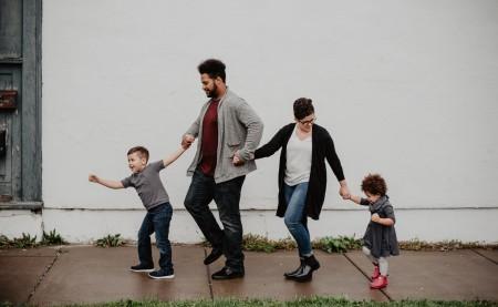 family having fun with kids