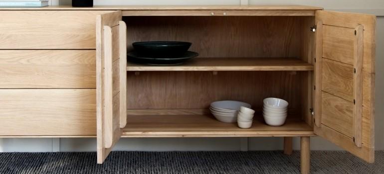 an open wooden cabinet