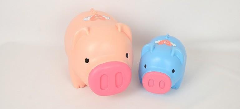 A pink and blue piggy bank.