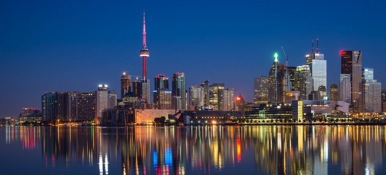 A view of Toronto at night.