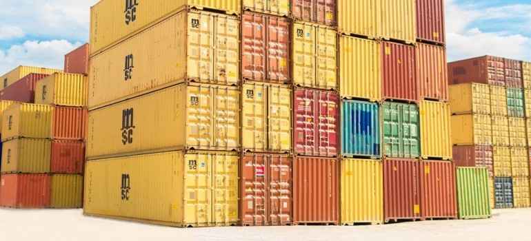 stacked moving containers