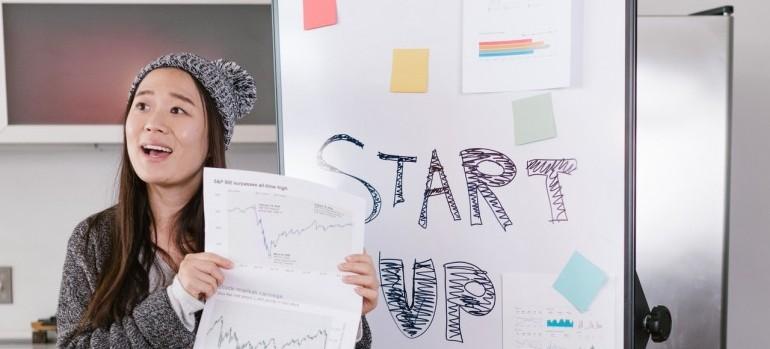 A young entrepreneur giving presentation