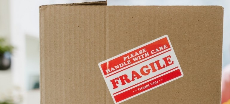 A moving box marked fragile