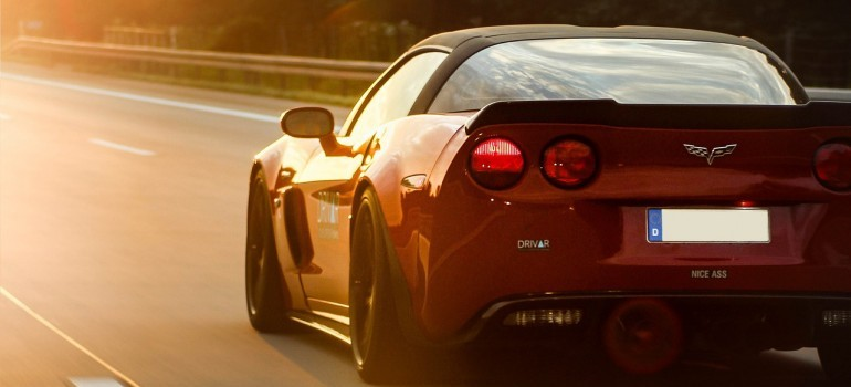 A sports car on the road.
