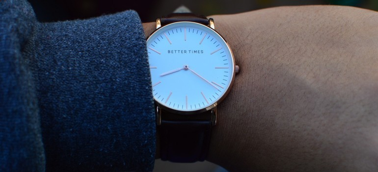 A close-up of a wristwatch.